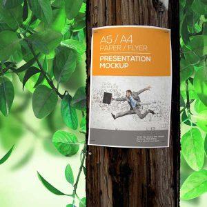 موکاپ تراکت روی درخت